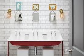Fun Kids Bathroom - shared kids bathroom with red trough sink cottage bathroom