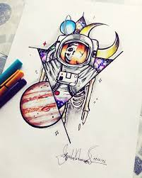 dead astronaut in space neotraditional design by me space
