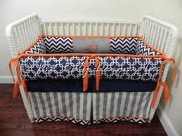Navy Nursery Bedding Baby Bedding Crib Set Luke Navy Chevron Gray Stripes Orange