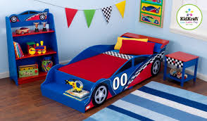 good looking race car shape bedroom decor ideas with open wall