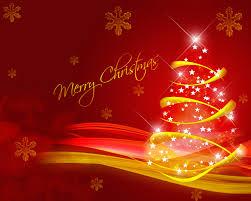merry christmas red golden tree stars modern hd wallpaper