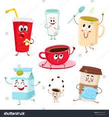 set funny milk coffee tea cup stock vector 519561469 shutterstock
