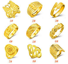 gold ring design 2018 new 18k gold ring for women with fashion design opening