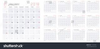 Planning Agenda Template Planning Calendar Template 2018 Set 12 Stock Vector 717246301