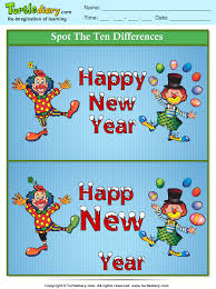 spot the differences happy new year clown worksheet turtle diary