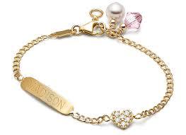 baby gold bracelet with name pavé heart tiny 14k gold engraved baby children s id bracelet