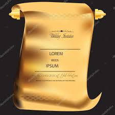 Gold Invitation Card Traditional Marriage Or Wedding Card Invitation In Golden Scroll
