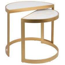 marble top nesting tables demi contemporary nesting tables gold with white marble top