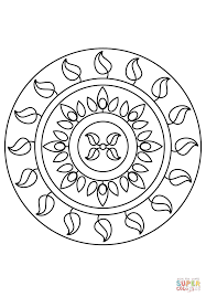 simple mandala with leaves coloring page free printable coloring