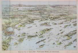 Portland Maine Map by Bird U0027s Eye View Of Casco Bay Maine Rare U0026 Antique Maps