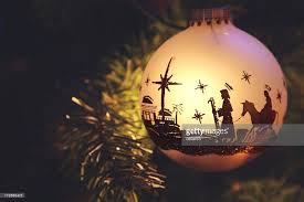 religious nativity silhouette on ornament stock