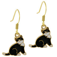 cat earrings cat earrings gold plated hook with black and white enamel
