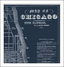 Chicago Map Art by Chicago Map Map Of Chicago Chicago Street Map Blueprint Map
