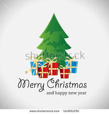 christmas card tucked tree gifts template stock vector 516192163