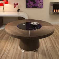large round dark elm dining table black glass lazy susan led