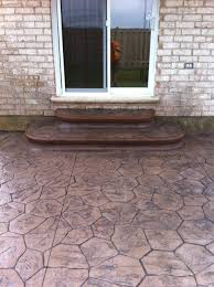 Concrete Backyard Ideas by Random Stone Stamped Concrete Steps Square With Rounded Corners