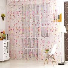 3 Panel Window Curtains Room Divider Voile Window Curtain Door Sheer Tulle Panel Floral