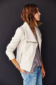 white leather motorcycle jacket silence noise rib mix vegan leather moto jacket in white lyst