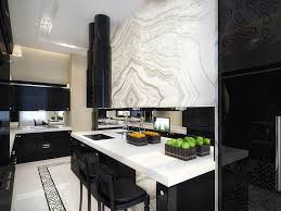 Black And White Modern Curtains Kitchen Great Black And White Galley Kitchen With White