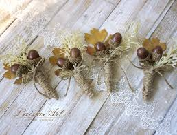 groomsmen boutonnieres fall wedding boutonnieres groom boutonnieres oak cones leaf