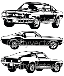 Black Mustang 1967 Ford Mustang 67 Gt Vector File