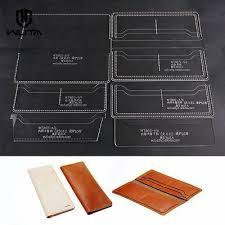 wuta unisex 8 slot long wallet leather template handmade pattern