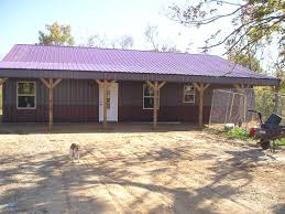 charming pole barn homes with metal painted roofing and veranda or