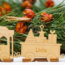 family train personalised christmas tree decoration by wooden toy