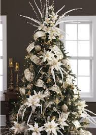 How To Decorate Garland With Ribbon An Absolutely Stunning Christmas Tree With White Poinsettia And