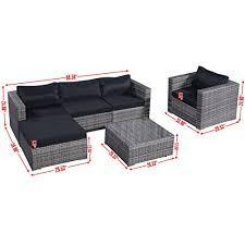 amazon com giantex 6pc patio sofa furniture set pe rattan couch