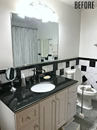Pictures Of Black And White Bathrooms Ideas Retro Black White And Teal Bathroom Makeover On A Budget The