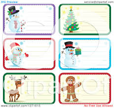clipart of christmas gift or name tag labels of snowmen a tree