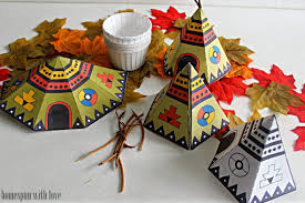 homespun with thanksgiving table teepee treat favors