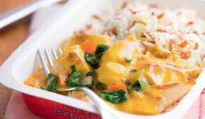 cuisiner coco plat poulet au curry et au lait de coco duo de riz surgelés les