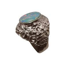 mens silver rings mens big opal ring sterling silver barong lion design flashopal