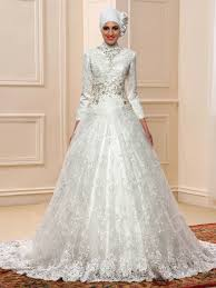 muslim wedding dresses beaded sleeve tulle lace court muslim wedding dress with