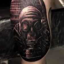 gas mask tattoo by drew apicture