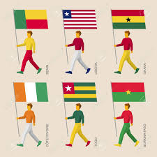 Flags Of African Countries Set Of Simple Flat People With Flags Of African Countries