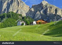 farm houses farm houses colfosco dolomites italy stock photo 200814131
