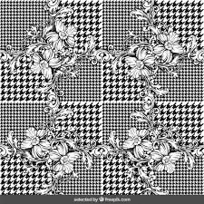 floral ornaments on houndstooth background vector free