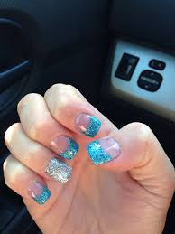 blue and silver glitter nails bring it on nails pinterest