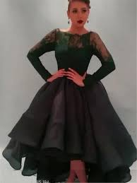 2015 long sleeves plus size evening dresses black lace appliques