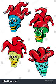 cartoon clown joker skull hat bells stock vector 213570868