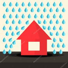 house in rain flat design vector illustration u2014 stock vector