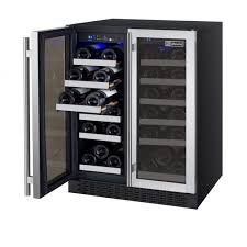 Furniture Built In Dual Zone Compressor Wine Cooler With 5 Wood