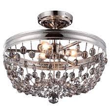 semi flush dining room light polished nickel crystal contemporary flush mount polished nickel