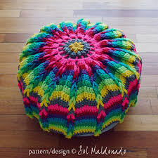 Crochet Ottoman Pattern Pouf Floor Pillow Or Mandala Wall Hoop Pattern By Sol