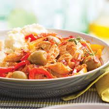 poivron cuisine mijoté de poulet aux poivrons et olives recettes cuisine et