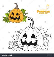 lantern pumpkin color outlined coloring page stock vector