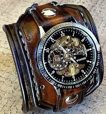 mens watches with bracelet images Steampunk leather wrist watch skeleton men 39 s watch jpg
